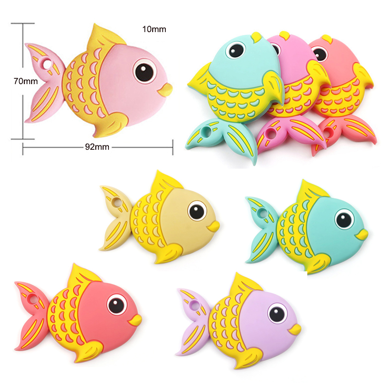 Colorful Silicone Baby Fish Shape Teether Baby Chew Teething Sensory Toy S