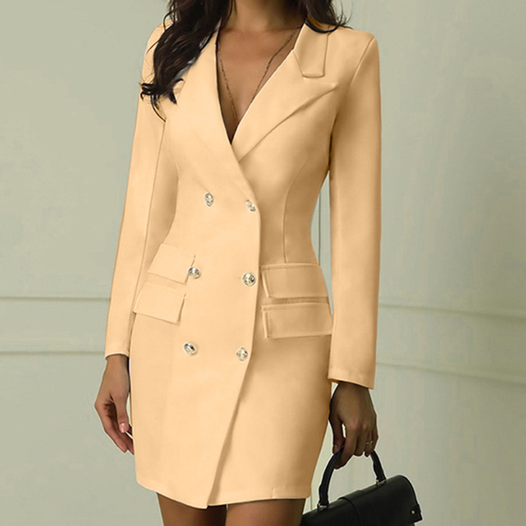 Fashion Office Ladies Suit Women Blazer Dress Double Breasted Button Front Military Style Long Sleeve Dress Free Ship