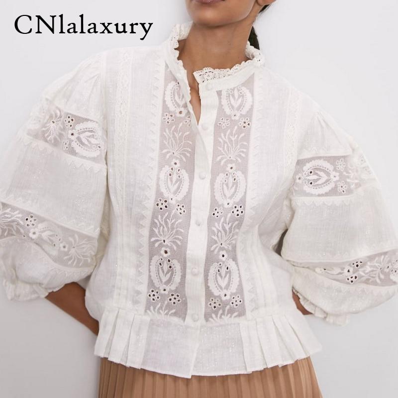 Женская блузка с вышивкой, осень 2020, новые модные кружевные лоскутные полосатые современные женские короткие топы, blusas mujer|Блузки|   | АлиЭкспресс