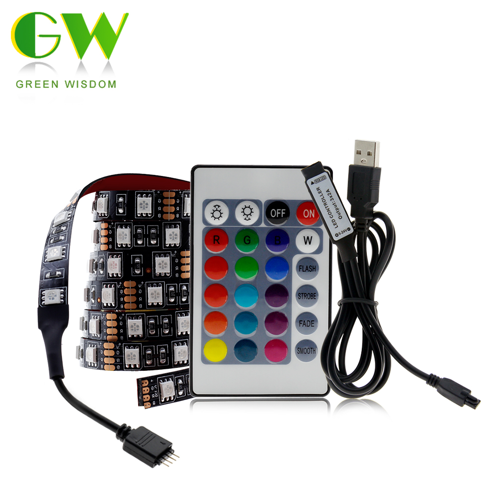 LED USB lumière de bande 5050 RGB changeable Diode Bande 5V 50CM 1M 2M 3M 4M 5M DIY flexible RGB LED Ruban pour PC TV écran rétro éclairage    -