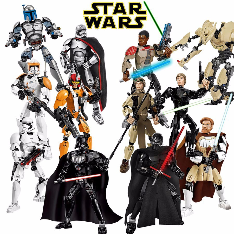 Star Wars Buildable Figure Stormtrooper Darth Vader Kylo Ren Chewbacca Boba Jango Fett General Grievou Action