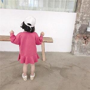 Image 2 - Весеннее Новое поступление, универсальное свободное хлопковое платье в Корейском стиле с длинными рукавами и буквенным принтом для милых маленьких девочек