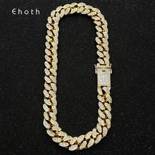 20 مللي متر بلينغ Maimi الكوبية ربط سلسلة قلادة الرجال الهيب هوب الذهب الفضة اللون مثلج خارج حجر الراين القلائد مجوهرات انخفاض الشحن