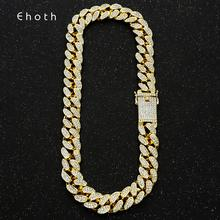 20mm Bling Maimi Cuban Link Chain Necklace Men's Hip Hop Gold Silver Color Iced Out Rhinestone Necklaces Jewelry Drop Shipping недорого