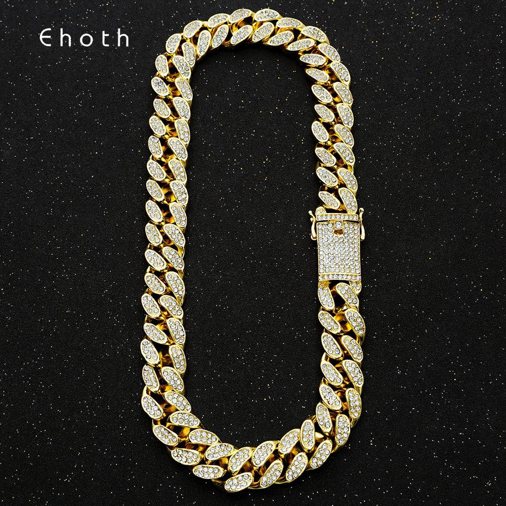 20mm Bling Maimi Cuban Link Kette Halskette männer Hip Hop Gold Silber Farbe Iced Out Strass Halsketten Schmuck drop Verschiffen