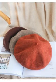 Women Girls Winter Warm Faux Wool Beret French Artist Beanie Hat Cap Red Black Purple Pink Orange Kawaii Flat Top Caps Warmers
