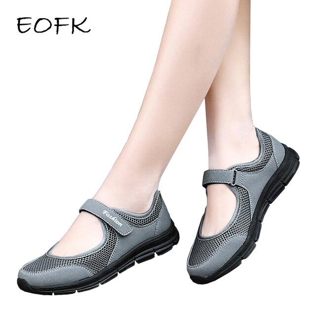 EOFK جديد الصيف النساء الشقق السيدات ماري جين الإناث رمادي الضحلة هوك وحلقة شبكة النسيج الراحة غير رسمية أحذية خفيفة بدون كعب