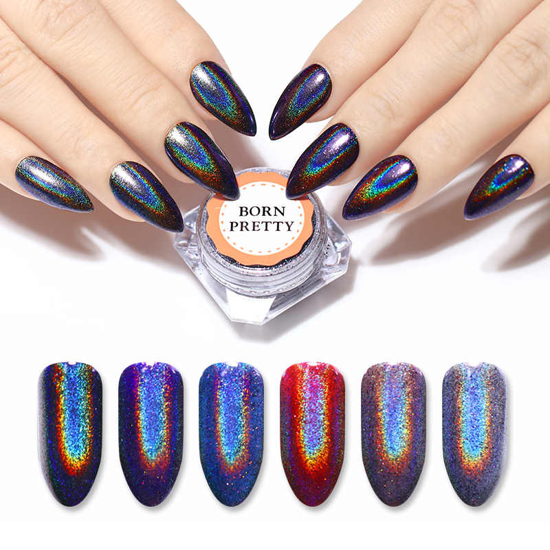 BORN PRETTY  Holographic Nail Glitter Super Shining Iridescent Nail Flakes Nail Art Pigment Powder Paillettes UV Gel