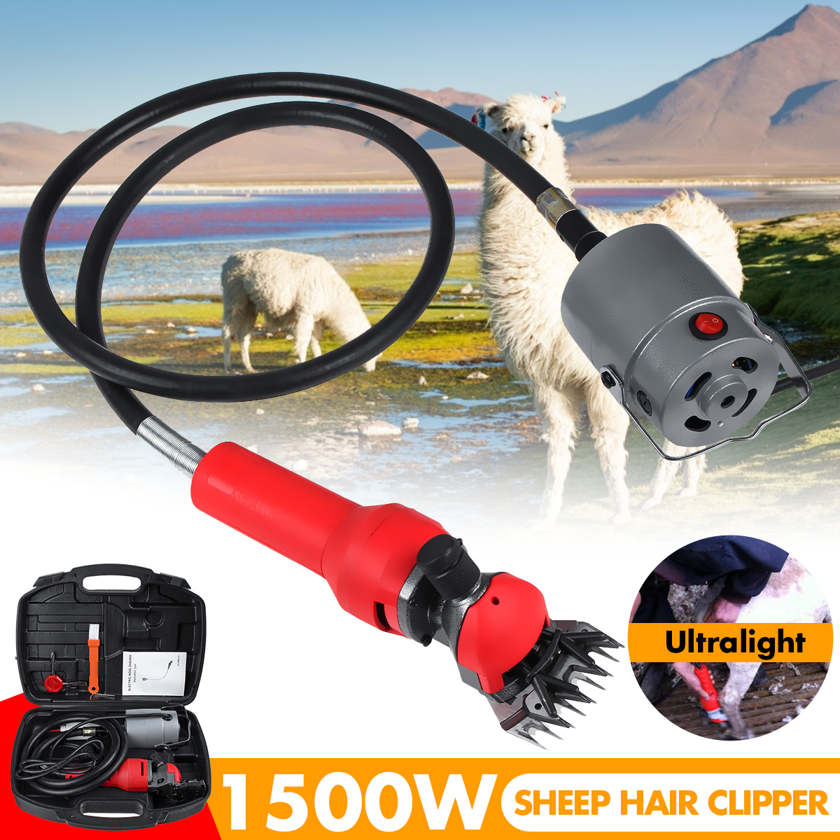1500W Ultralight Electric Sheep Goat Shearing Machine Clipper Farm Shears Cutter Wool Scissor Cut Machine With Box