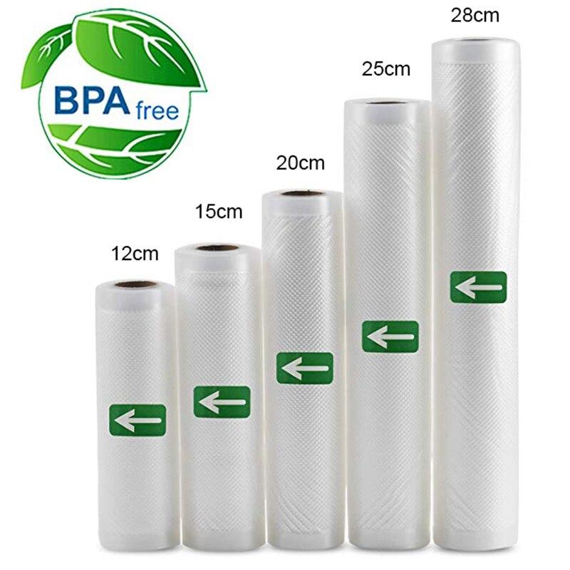 5 rollen Lot Küche Lebensmittel Vakuum Tasche Lagerung Taschen für Vakuum Versiegelung Lebensmittel Halten 12 + 15 + 20 + 25 + 28cm * 500cm