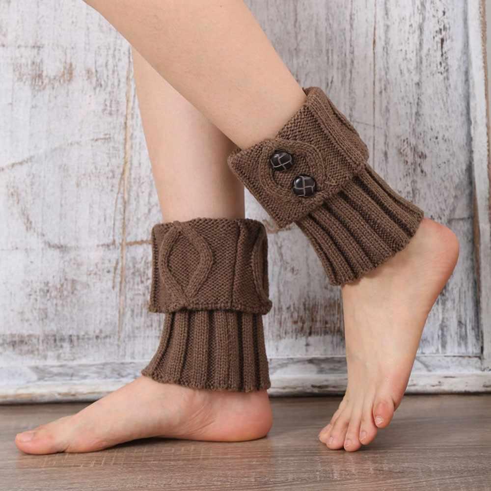 Kadınlar kış sıcak örgü bacak ısıtıcısı s düğme tığ tayt Slouch çizme çorap bacak ısıtıcısı calentadores de pierna mujer # C20