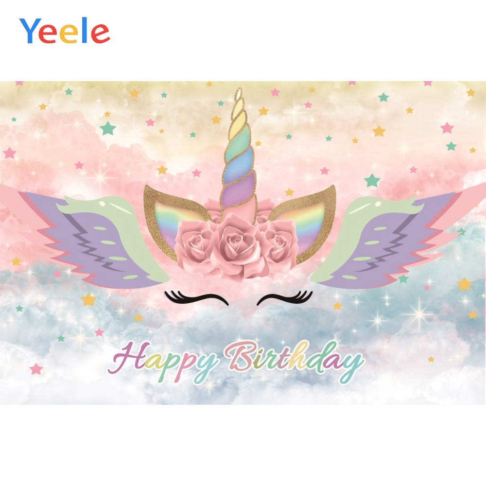 Yeele Unicorn Birthday Decor Photocall Bokeh Glitter Photography Backdrop Personalized Photographic Backgrounds For Photo Studio in Background from Consumer Electronics