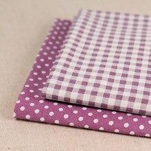 Tecido de linho de algodão xadrez toalha de mesa pano sofá capa diy brocado costura pelo metro geométrico impresso roxo pontos grade
