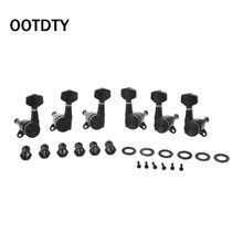 OOTDTY Guitar Locking Tuners Tuning Pegs Machine Heads For Electric Acoustic 3L3R Black suit for guitar left handed locking tuning keys guitar tuners pegs machine heads black