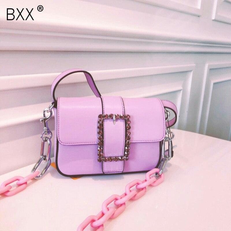 [BXX] Women's Single Shoulder Crossbody Bag All-match 2020 Summer Brand Designer Rhinestone Package Chain Waist Chest Bag HI037