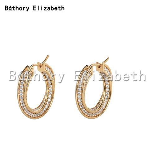 Brincos para Mulheres Brincos de Argola de Ouro Elizabety Geométrica Torção Círculo Zircon Moda Passarela Marca Jóias Aretes