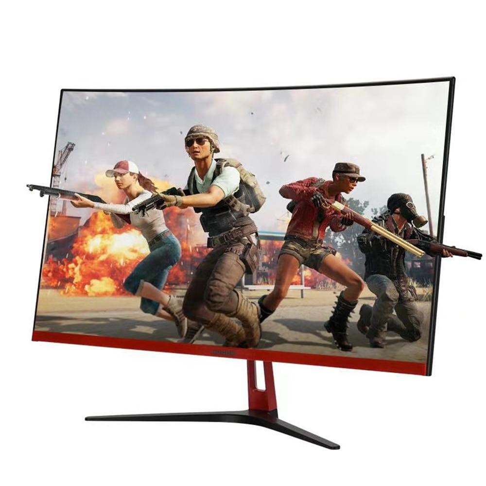 HUGON 27-inch Curved 75Hz LED Monitor S-PVA 1920 * 1080 Curved Screen 1080P Gaming Monitor Display VGA HDMI Audio Interface