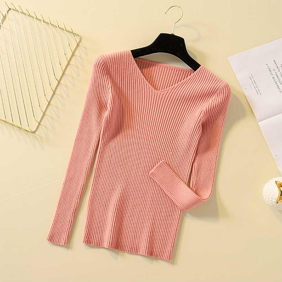 솔리드 v-목 와이드 스트라이프 니트 스웨터 여성 가을 겨울 긴 소매 Bottoming 셔츠 여성 한국어 슬림 따뜻한 풀오버 점퍼