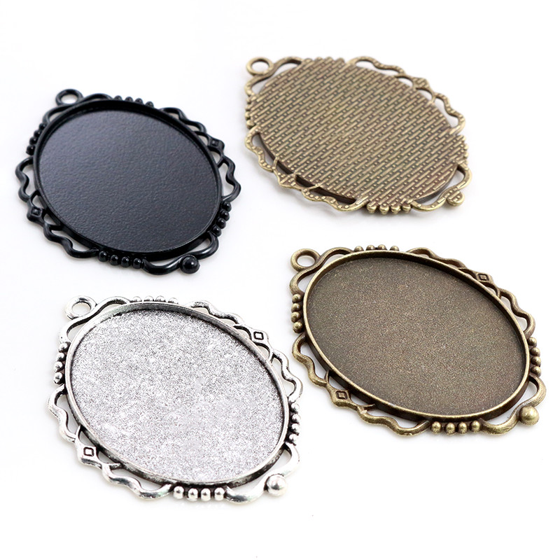 New Fashion 5pcs 30x40mm Inner Size Bronze/Black/Antique Silver Plated Pierced Style Cabochon Base Setting Charms Pendant