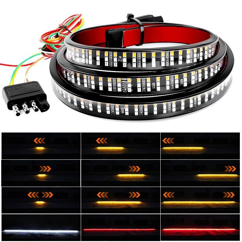 DERI 48 60inch Car LED Strip Light Tailgate Light Bar Pickup Trailer Taillight Turn Signal Lights Reverse Brake Lights DC 12V