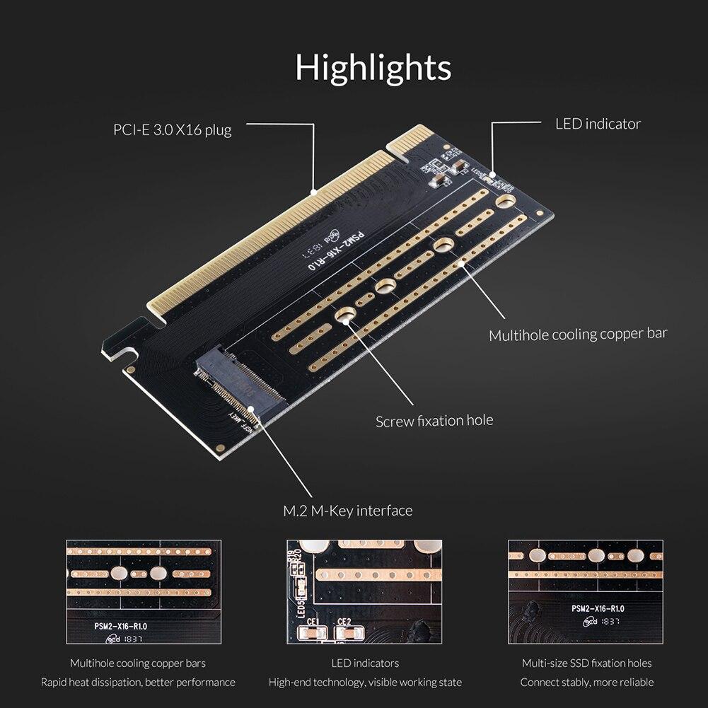 ORICO PCI-E Express M.2 M-key Interface SSD M.2 NVME to PCI-E 3.0 X16 Gen3 Convert Card Support 2230 2242 2260 2280 SSD Adapter 2