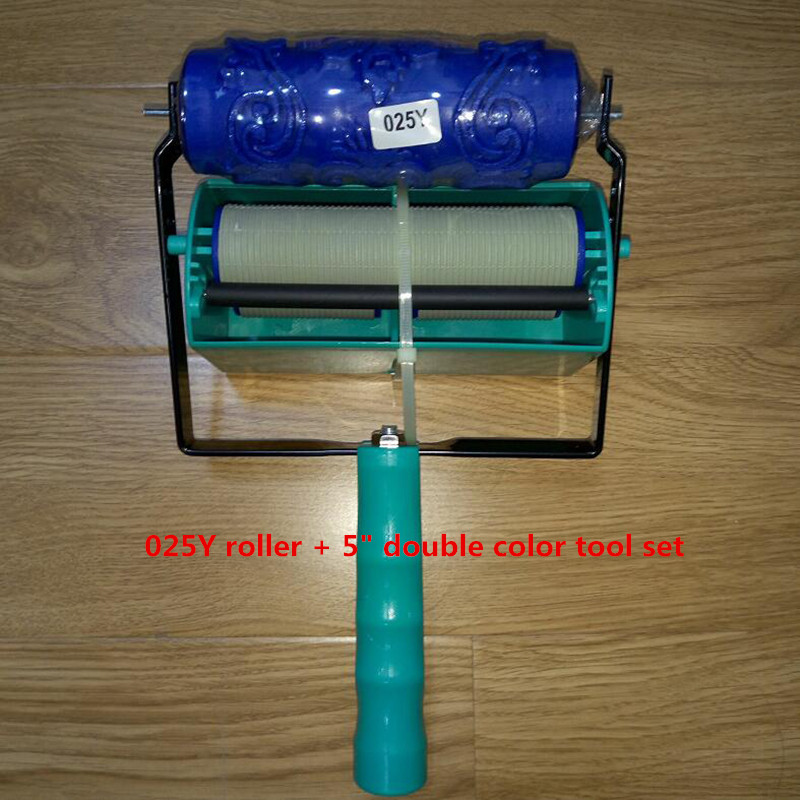 DIY wall decoration tools - 5 inch handle grip applicator plus 5inch wall pattern painting roller 025Y