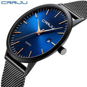 Watch, Mens Watch, CRRJU Ultra Thin Watches Minimalist Fashion Simple Wrist Watch Analog Date with Stainless Steel Mesh Band