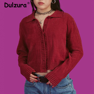 Image 1 - Harajuku Girls Vintage Knitted Cardigan Sweater 2019 Autumn Turn down Collar Knitwear Casual Loose Soft Cozy Outwear Women