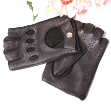 Genuine Leather Gloves Female Anti-Slip Semi-Finger Deerskin Woman's Gloves Spring Summer Unlined Thin Breathable Driving EL116 high quality genuine leather men s semi finger gloves anti slip driving breathable fitness deerskin gloves male d0132 9m
