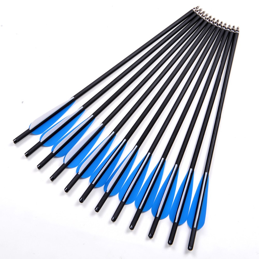 6/12/24Pcs Crossbow Bolt Arrows 17/20/22 Inches Mix Carbon Crossbow Arrow OD 8.8mm With Blue Feather Archery Hunting Shooting