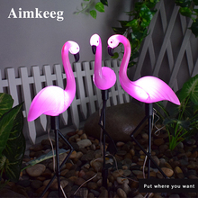 LED Solar Power Pink Flamingo Simulation Animal Light for Garden Lawn Outdoor Waterproof