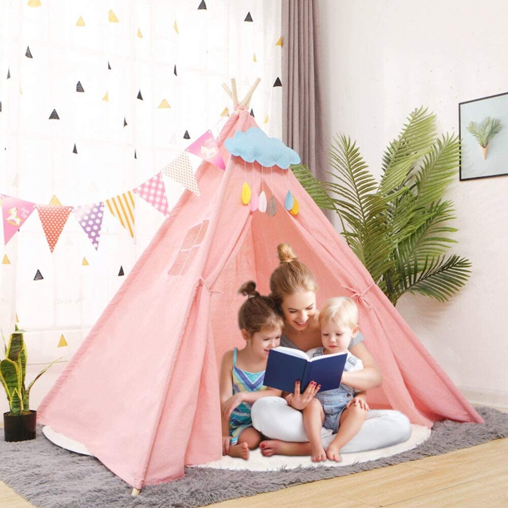 1.6M Children Playhouses Large Triangle Teepee Tent Portable Indoor Outdoor Indian Kids Room Tent Play Facilities Furniture Toys