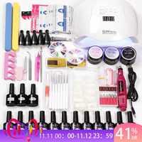 12 Color Gel Nail Polish Varnish Extension Kit with 36w/45w /80w Led Uv Nail Lamp Kit for Manicure Set Acrylic Nails Art Tools
