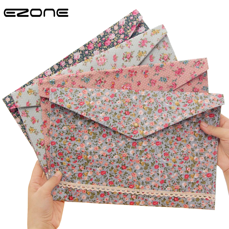 EZONE A4 Flower Folder Botton Design File Folder Fresh Floral Beauty Girls Folder Office Paper Storage Bag School Office Supply