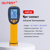 OUTEST Non contact IR Infrared Thermometer Digital LCD Laser Pyrometer Surface Temperature Meter Imager 18C~1150C( 58F~2102F)
