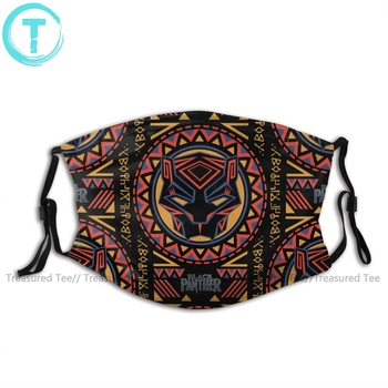 цена Black Panther Mouth Face Mask Panther Head Tribal Pattern Facial Mask Funny Kawai with 2 Filters for Adult онлайн в 2017 году