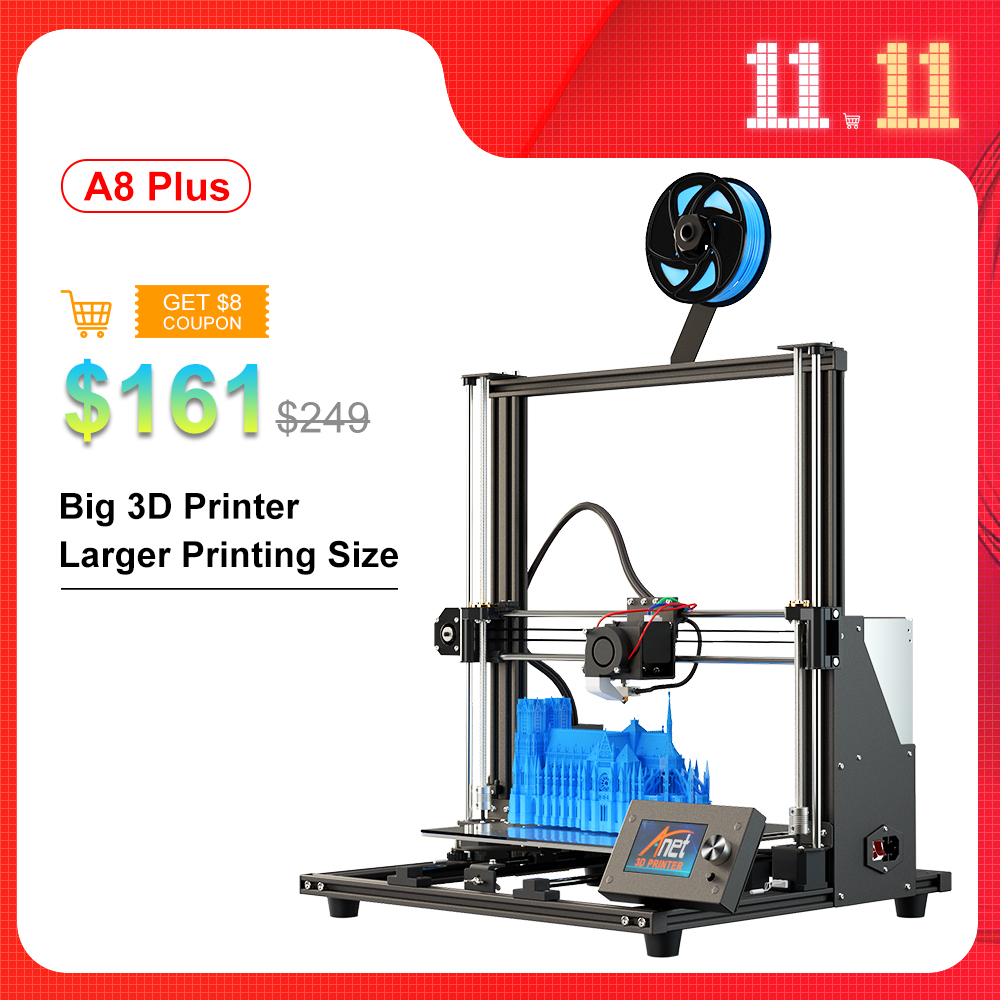 New Anet A8 Plus 3D Printer Kit Big Size 300*300*350mm High Precision Metal Desktop 3D Printer DIY I