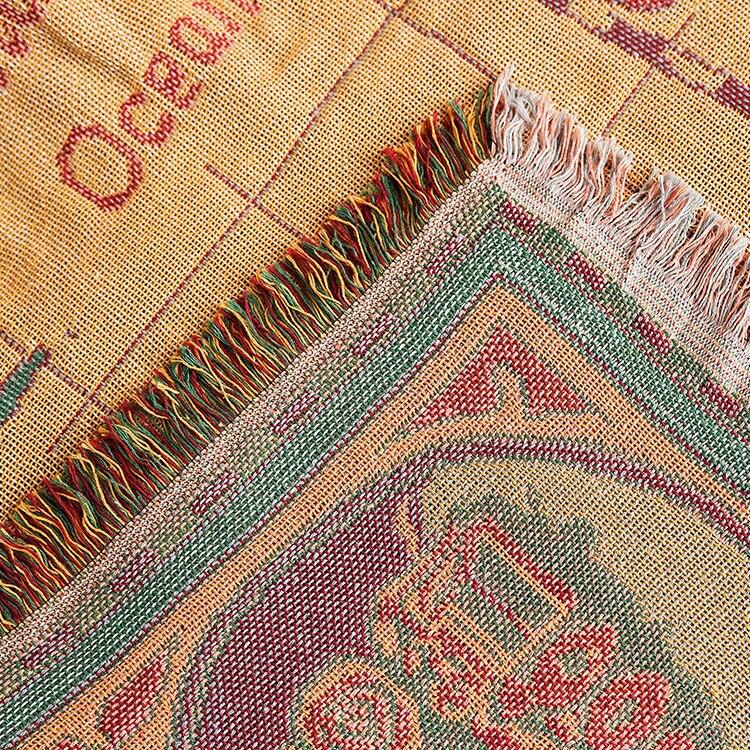Image 5 - World map Cotton Bohemian Plaids Blanket Multi function Sofa  Decorative piano cover tapestry Cobertor Tassel BlanketBlankets   -