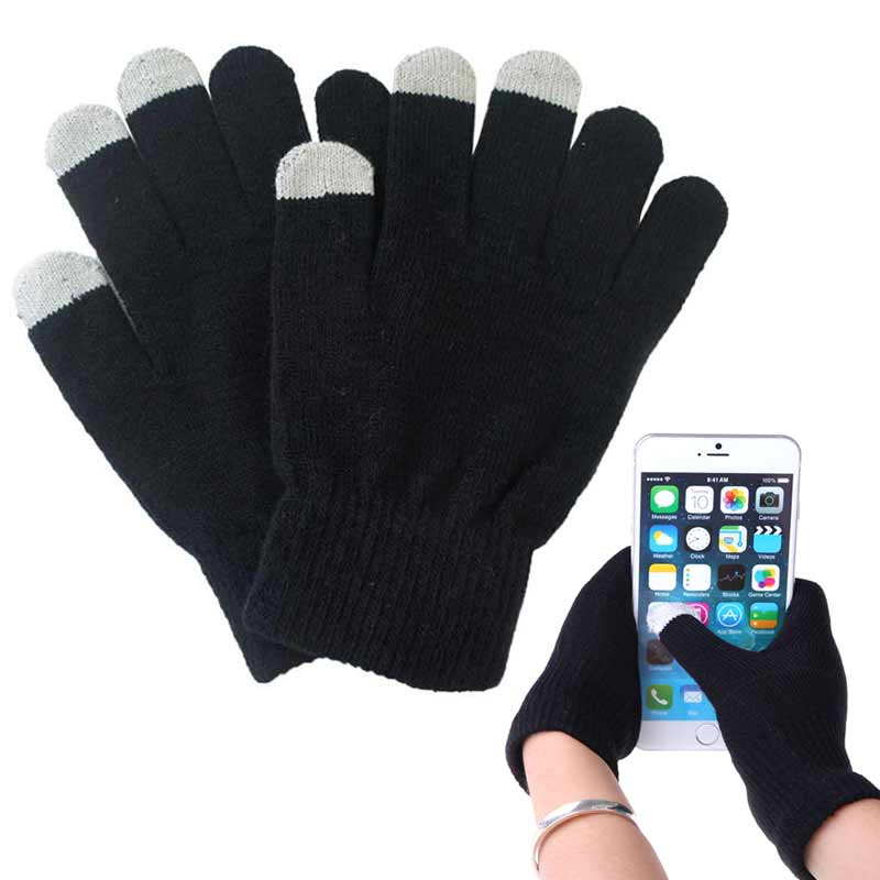 1 Pair Unisex Winter Warm Capacitive Knit Gloves Hand Warmer For Touches Screen Smart Phone  KS-shipping