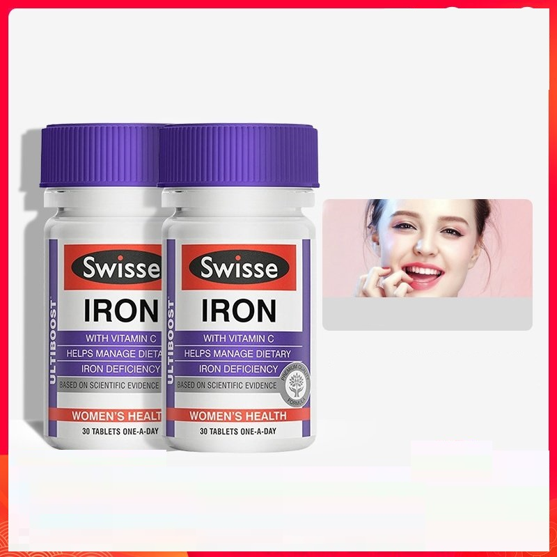 Swisse Iron 30Tablets *2PCS Supplement Dietary Iron Deficiency Treatment Suitable for Vegetarians During pregnancy Healthy blood image