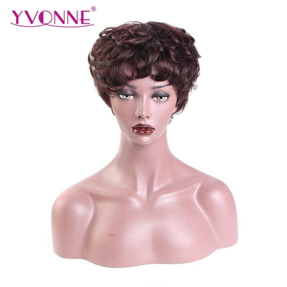 YVONNE Short Pixie Cut Hair Wigs For Women Wave Human Hair Wig Brazilian Virgin Hair Machine Made Color Wigs