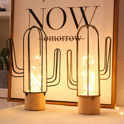 Cactus copper silk wire iron art bedroom girl heart gift ornament decorative table lamp led lights decoration  led tree