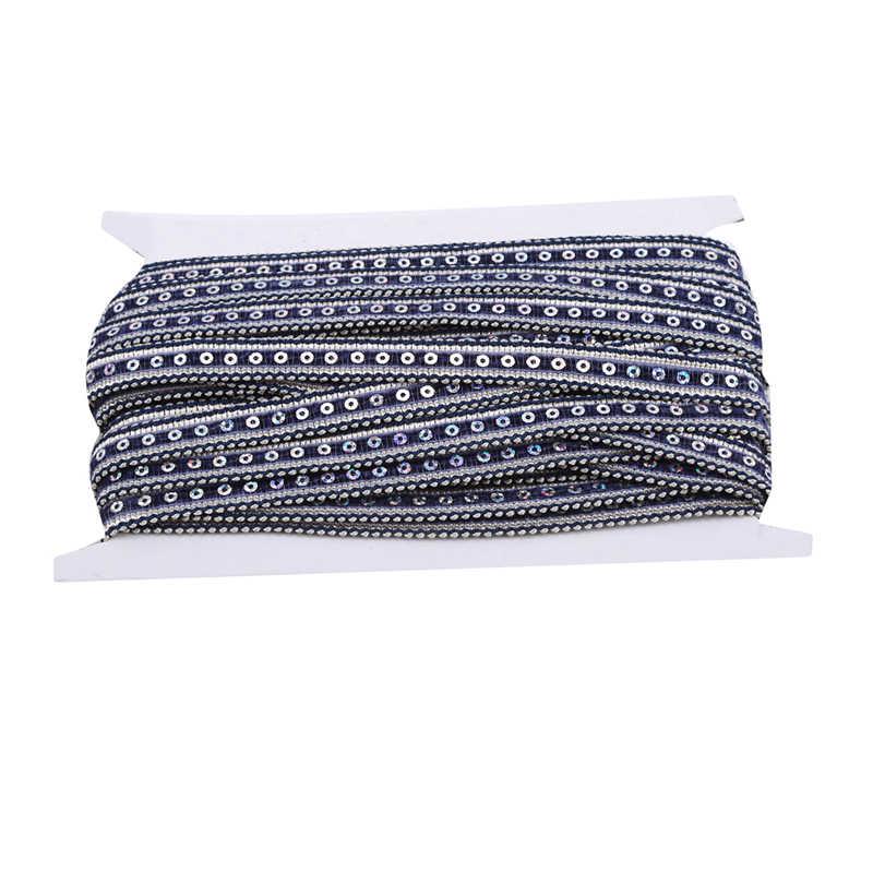 14mm Polyester Kim Sa Lấp Lánh Song Phương Thủ Công Mỹ Nghệ Thêu Lưới Viền Ren Vải Ruy Băng DIY May Váy Phụ Kiện