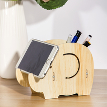 Wood Pen Holder With Cell Phone Stand Holder For Desk Mobile Phone Pad Dock Cartoon Elephant Office Supplies Easy To Assemble