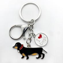Exquisite handmade emaille metall dober anhänger keychain für beste haustier hund schmuck schlüssel kette