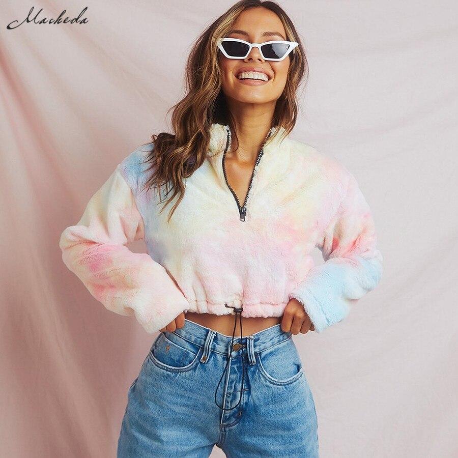 Macheda Autumn Stylish Sweatshirts Women Long Sleeve Turtleneck Zipper Tie Dyeing Pullovers Lady Streetwear Casual Loose Top New