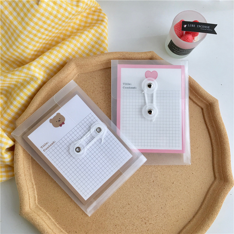 Ins Simple Style Transparent Folder PP Waterproof File Bag Student Notebook Hand Book Pencil Document Arrange Storage Stationery