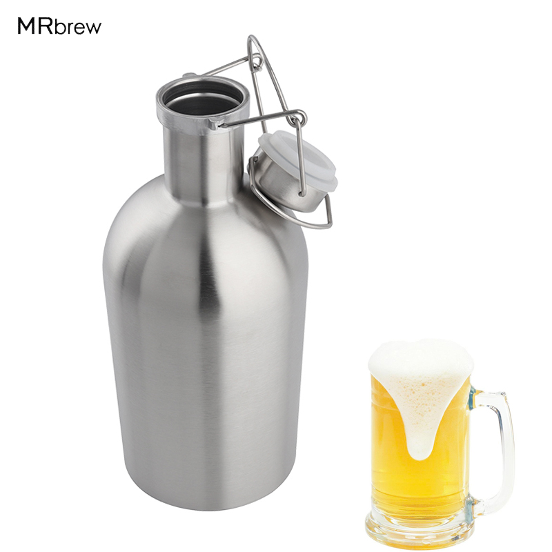 32oz & 64oz Beer Growler Stainless Steel 304 Beer Bottle With Swing Top, Keeps Homebrew Fresh And Cold With Airtight Seal