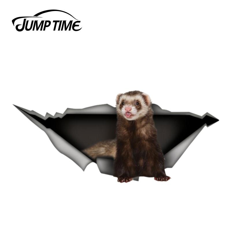 Jump Time 13cm X 5.9cm Ferret Car Decal Sticker 3D Pet Graphic Vinyl Decal Car Window Laptop Bumper Animal Car Stickers