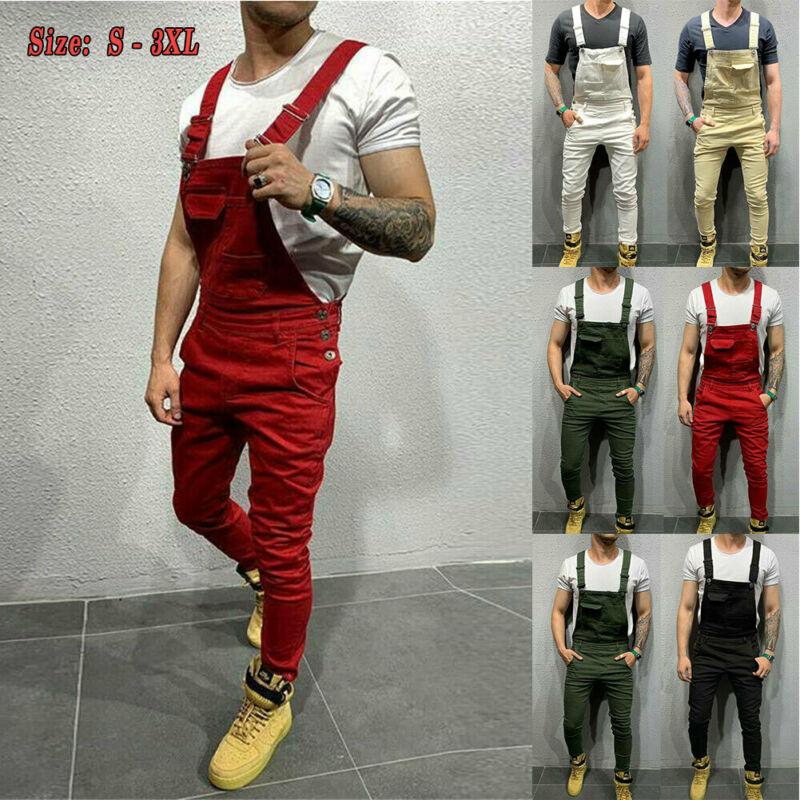 Men Casual Jeans Pluse Size Denim Strap Jean Jumpsuit Loose Fitting Sleeveless Casual Overalls Dungarees Playsuit